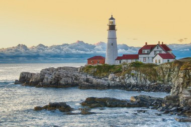 Jerry Kaufman, Enduring Light, Portland, Maine, Photography Northeast Maine lighthouse in morning