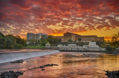 Sunrise at the Museum photo from banks of Schuykill River of the Philadelphia Museum of Art