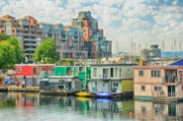 Jerry Kaufman, whimsical waterfront, Victoria, BC, Photography of Canada colorful house boats