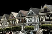 Jerry Kaufman, Painted Ladies After Dark, Photography, California, San Francisco, Victorian houses