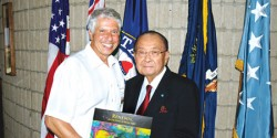 Author Jerry Kaufman with Senator Daniel Inouye, HI