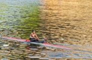 Jerry Kaufman, Rower in Color, Philadelphia, Photography of woman rowing on river