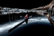 Jerry Kaufman, Winter Rower, Seattle, Photography of woman rower on Lake Washington
