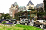 Jerry Kaufman, Model A's at the Empress, Victoria, BC, Photography of Victoria British Columbia old hotel and model A cars